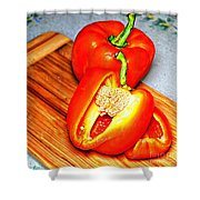 Glowing Peppers With Texture Shower Curtain