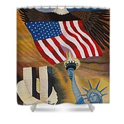 God Bless America Hand Embroidery Shower Curtain