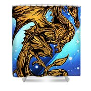 Gold Metal Dragon Shower Curtain