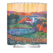Golden Farm Scene Shower Curtain