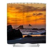 Golden Harris Beach Sunset - Oregon Shower Curtain