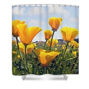 Golden Poppies Impasto Shower Curtain