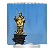 Golden Statue Of The Virgin Mary In Munich Germany Shower Curtain