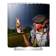 Golf Ball Flames Shower Curtain