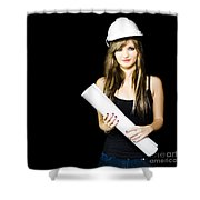 Graduate Engineer Holding Construction Design Plan Shower Curtain