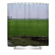 Green Fields With Birds In Kerala Shower Curtain