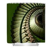 Green Spiral Staircase Shower Curtain
