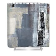 Blocked - Grey And Beige Abstract Art Painting Shower Curtain
