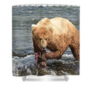 Grizzly Bear Salmon Fishing Shower Curtain