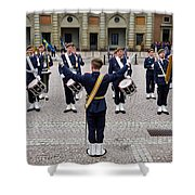 Guards Changing Shifts. Kungliga Slottet.gamla Stan. Stockholm 2 Shower Curtain