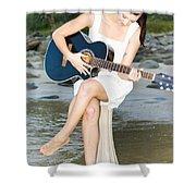 Guitar Woman Shower Curtain