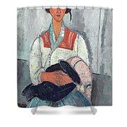 Gypsy Woman With Baby Shower Curtain by Amedeo Modigliani
