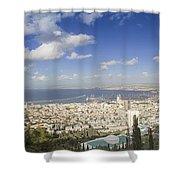 Haifa Bay Panorama Shower Curtain