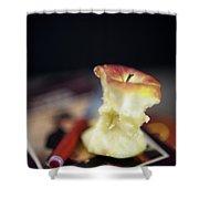 Half Eaten Apple On Books Shower Curtain