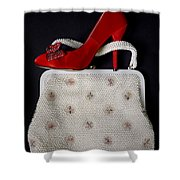 Handbag With Stiletto Shower Curtain