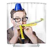 Handsome Business Man. Party For Many Year Service Shower Curtain