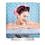Happy 60s Pinup Housewife On Blue Ironing Board Shower Curtain