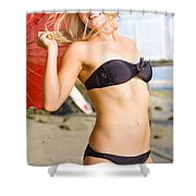 Happy And Excited Woman Jumping At Beach Shower Curtain