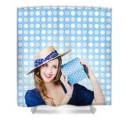 Happy Birthday Girl Holding Present Shower Curtain