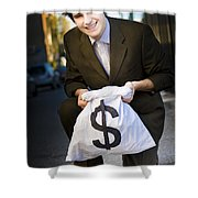 Happy Business Man Smiling With Money Bag Shower Curtain
