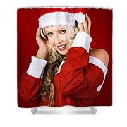 Happy Dj Christmas Girl Listening To Xmas Music Shower Curtain