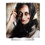 Hard Rock Zombie Listening To Death Metal Music Shower Curtain