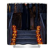 Haunted House With Lit Pumpkins And Demon Shower Curtain