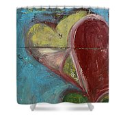 Heart Shape Painted On A Wall, Safed Shower Curtain