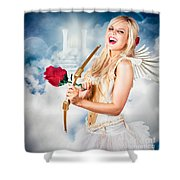 Heavenly Angel Of Love With Flower Arrow Shower Curtain