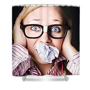 Hectic Business Person Under Stress Overload Shower Curtain