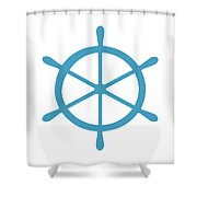 Helm In White And Turquoise Blue Shower Curtain