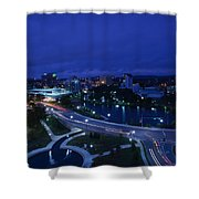 High Angle View Of A City, Big Spring Shower Curtain