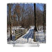 Hiking Trail Bridge With Shadows 3 Shower Curtain