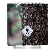 Hiking Trail Sign On The Forest Paths Shower Curtain