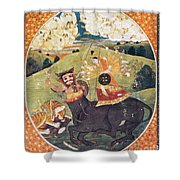 Hindu Goddess Durga Fights Mahishasur Shower Curtain