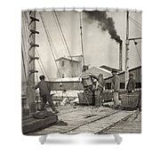 Hine Oyster Fishing, 1911 Shower Curtain