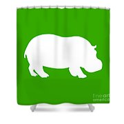 Hippo In Green And White Shower Curtain
