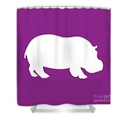 Hippo In Purple And White Shower Curtain