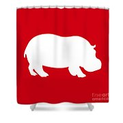 Hippo In Red And White Shower Curtain