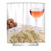 Homemade Cheese Wine And Walnuts Shower Curtain