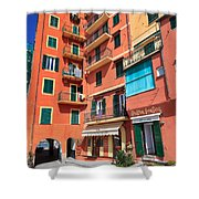 homes and promenade in Camogli Shower Curtain