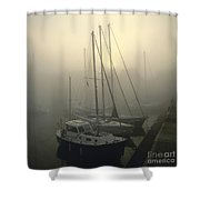 Honfleur Harbour In Fog. Calvados. Normandy. France. Europe Shower Curtain