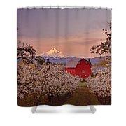 Hood River Sunrise Shower Curtain by Darren  White