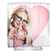 Hopeless Romantic Girl Showing Signs Of Love Shower Curtain