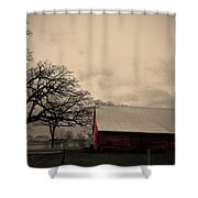 Horse Barn In Red  Shower Curtain by Garren Zanker