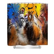 Horse Racing Abstract  Shower Curtain