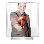 Hostile Male Office Worker Holding Flaming Bomb Shower Curtain