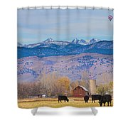 Hot Air Balloon Rocky Mountain County View Shower Curtain