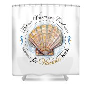 Hot Sun. Warm Sand. Cool Water. Ingredients For Vitamin Beach. Shower Curtain by Amy Kirkpatrick