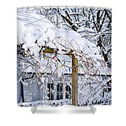 House Under Snow Shower Curtain by Elena Elisseeva